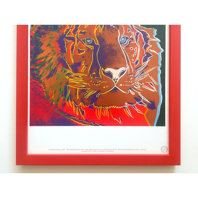 "Contemporary Andy Warhol Estate Vintage 1989 Endangered Species Framed Lithograph Print "" Siberian Tiger "" 1983 For Sale - Image 3 of 13"