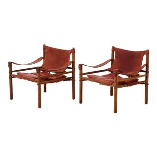 1960s Vintage Arne Norell Rosewood and Leather Safari Sirocco Chairs - a Pair For Sale