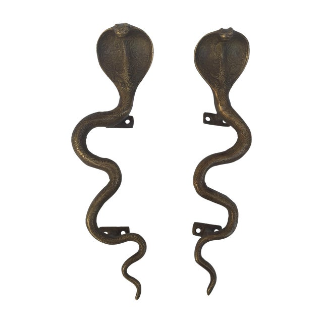 Brass Cobra Door Handles - A Pair - Image 1 of 8
