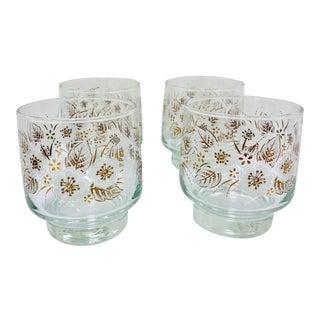 Vintage Set Gold Floral Glasses For Sale