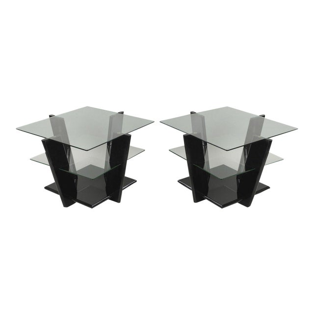 Pair of Contemporary Modern Black Lacquer & Glass 3 Tier End Tables Sculptural For Sale