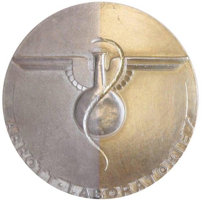 Machine Age Art Deco Raymond Loewy Medallion, Abbott Labs 50th Anniversary For Sale