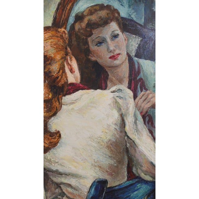 1940s Portrait Painting of a Woman's Reflection, American 1940's For Sale - Image 5 of 9