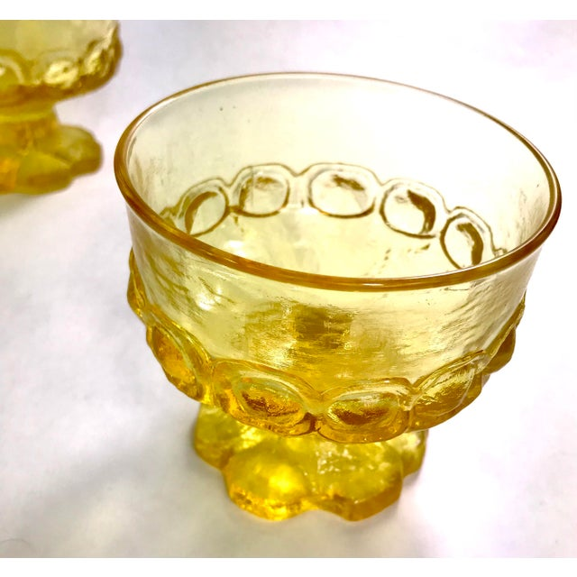 Franciscan China Mid-Century Tiffin Franciscan Madeira Olive Green and Cornsilk Yellow Sorbet Glasses- Set of Six For Sale - Image 4 of 6