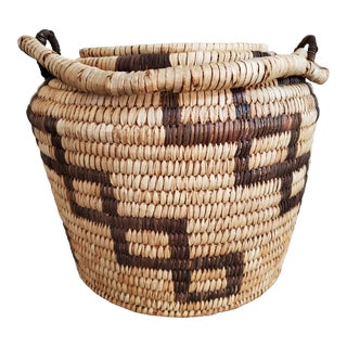 African Lidded Basket With Handle For Sale