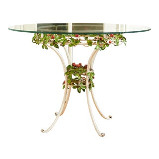 Vintage Italian Tole Glass Top Strawberry Table For Sale