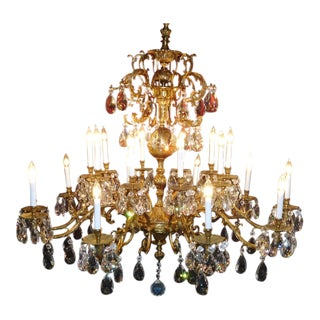 Antique Brass & Cut Lead Crystal Chandelier For Sale