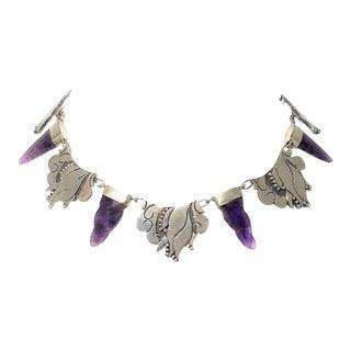 Vintage Carmen Beckmann Amethyst and Sterling Necklace For Sale