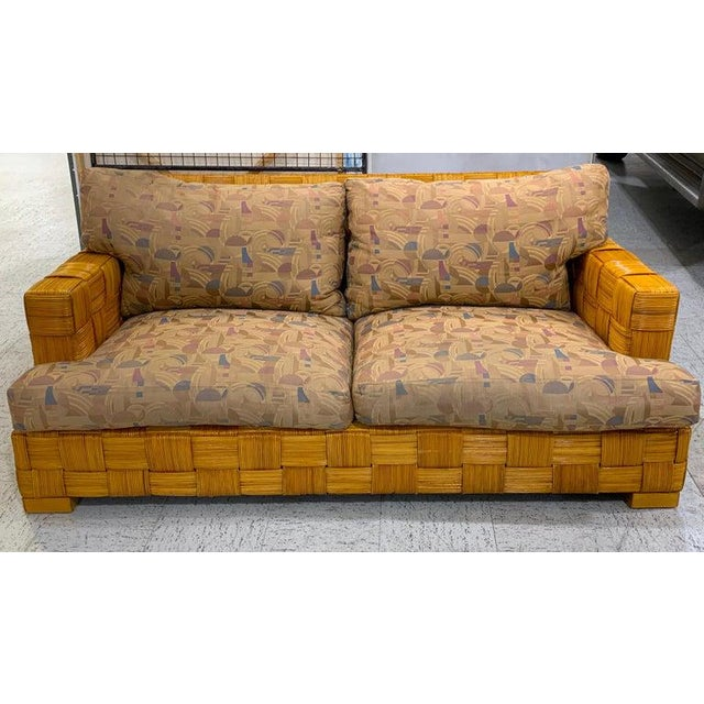 "Donghia woven rattan ""Block Island"" sofa by John Hutton, beautifully constructed and woven, warm even color and patina...."