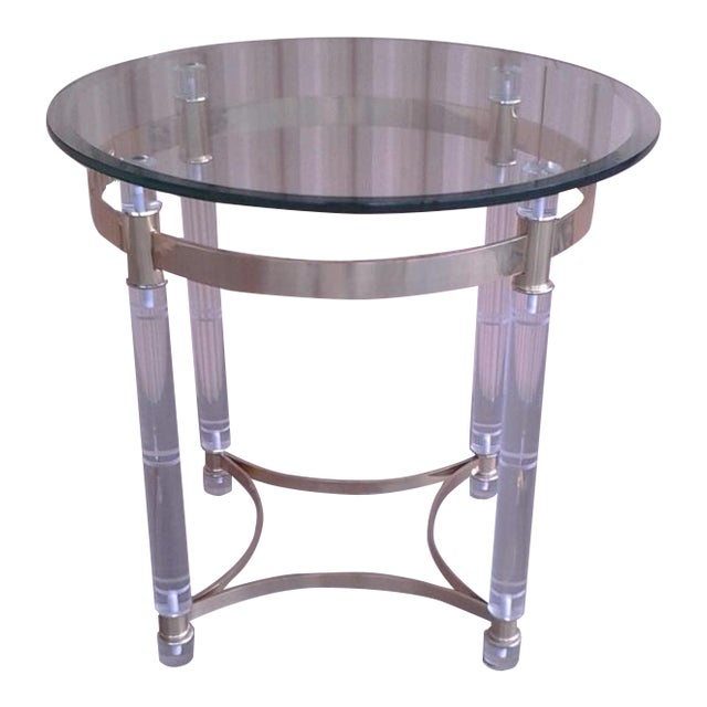 Vintage Lucite & Brass Occasional Table in the Manner of Charles Hollis Jones - Image 1 of 6