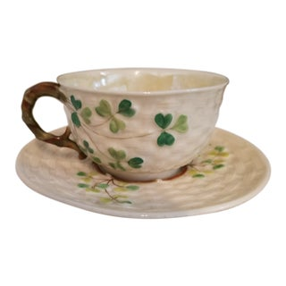 Antique Black Mark Irish Belleek Teacup and Saucer For Sale