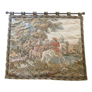 Tapestry of Renaissance Gentleman and Lady on Horseback For Sale
