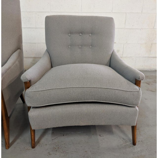 Restored Kroehler Mid-Century Modern Gray Wool Walnut Lounge Chairs - a Pair For Sale - Image 12 of 13