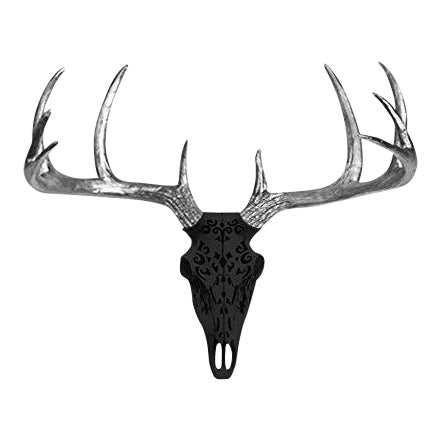 Wall Charmers Black & Silver Faux Taxidermy Antlers Skull Mount