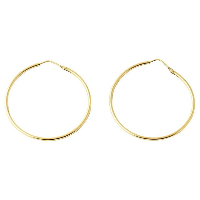 Late 20th Century 20th Century Italian 18k Gold Hoop Earrings - a Pair For Sale - Image 5 of 8