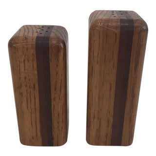 Mid Century Modern Wooden Salt & Pepper Shakers For Sale