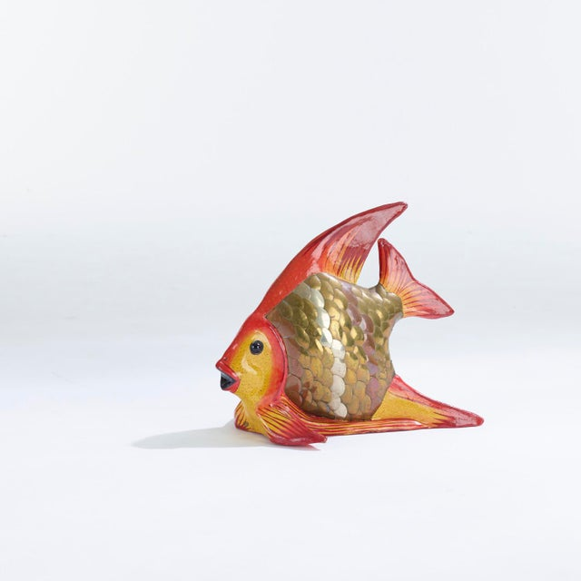Metal Vintage Fish Sculpture Attributed to Sergio Bustamante For Sale - Image 7 of 7