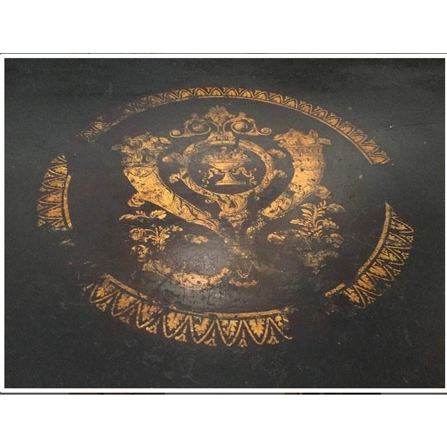 19th Century Traditional Ebonized Gilt Stenciled Card Table For Sale - Image 4 of 6