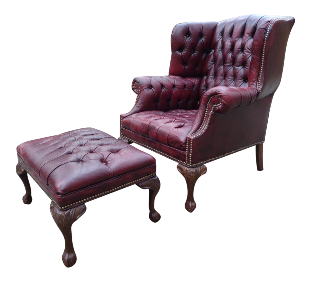 Vintage Oxblood Tufted Leather Chesterfield Wingback Chair Ottoman