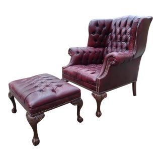 Vintage Oxblood Tufted Leather Chesterfield Wingback Chair & Ottoman For Sale