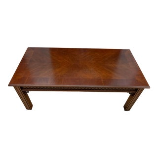 Inlaid Wood and Crotch Mahogany Style Rectangular Coffee Table For Sale