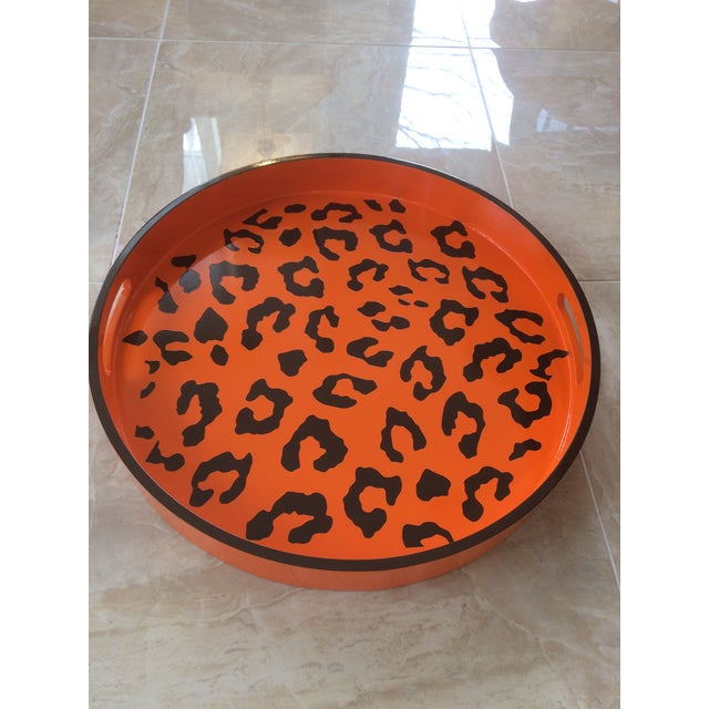 Contemporary Round Hermès Inspired Orange & Brown Leopard Tray For Sale - Image 3 of 9