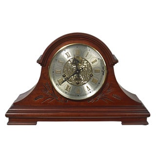 1985 Heritage Heirlooms Tambour Style Mantel Clock Engraved Oak Case For Sale
