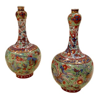 Early 19th Century Clobbered Vases - a Pair For Sale