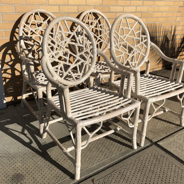 "Set of 4 1980s rattan ""cracked ice"" design dining chairs in the style of McGuire. Very good condition with only minor..."