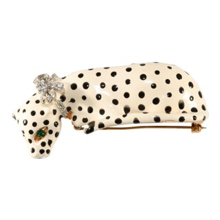 Kenneth Jay Lane Enameled Snow Leopard Big Cat Shoulder Brooch For Sale