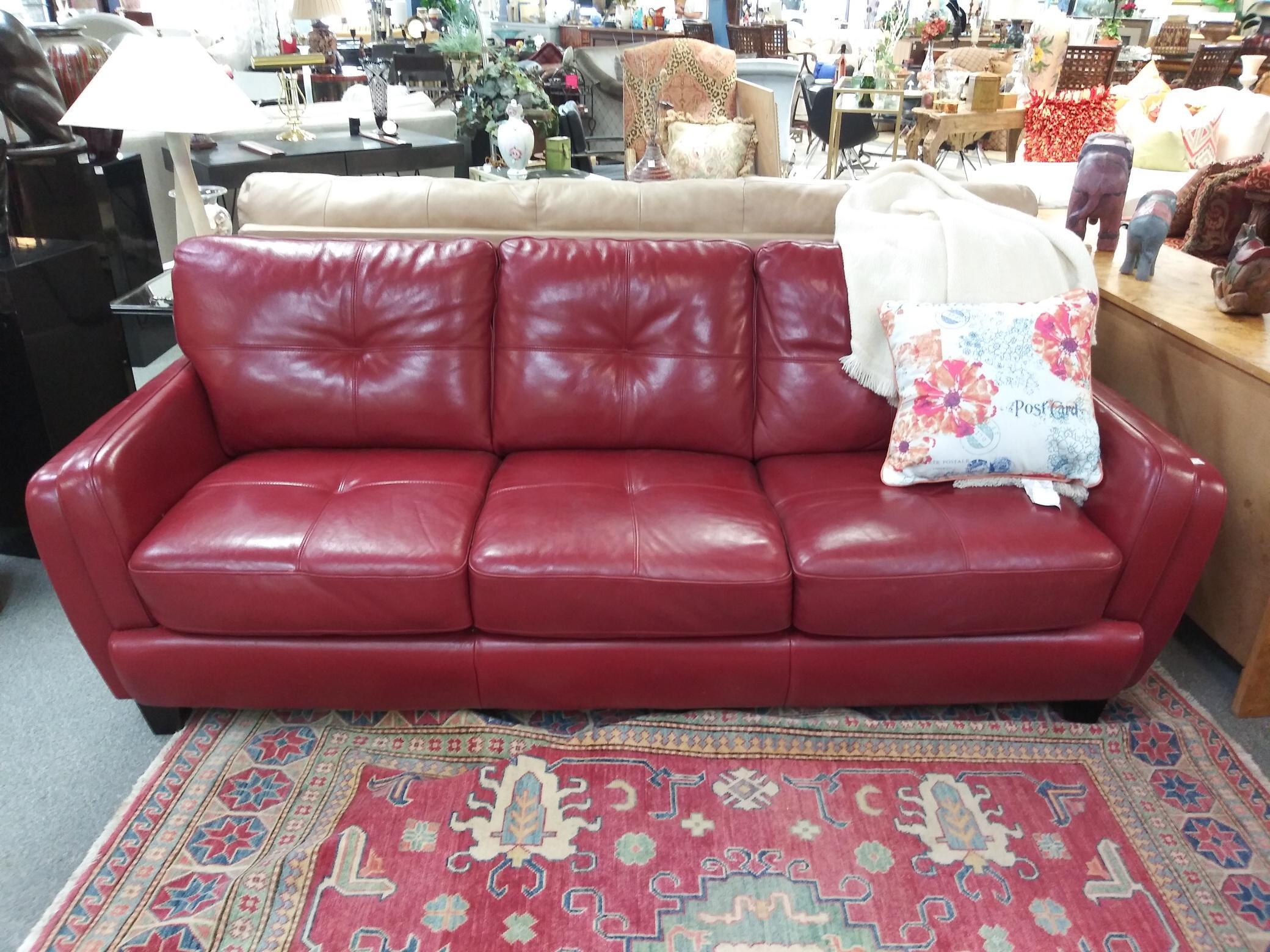 Vintage Mid Century Red Leather Modern Sofa Chairish