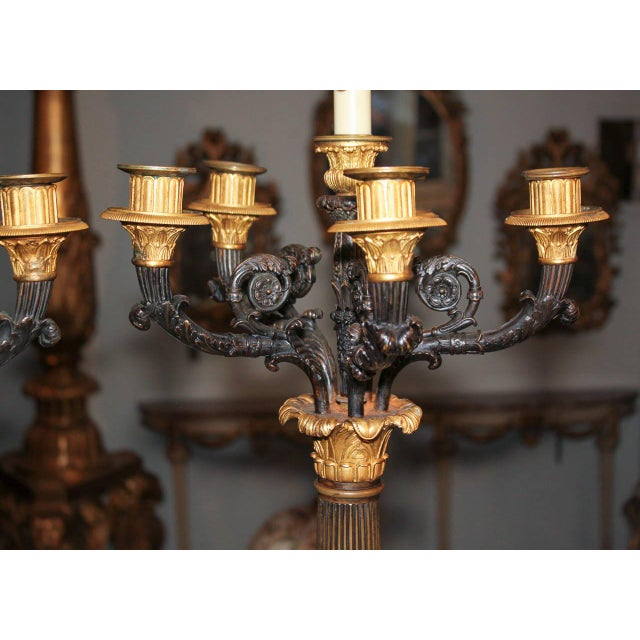 Large Pair of 19th C. French Empire Candelabra For Sale - Image 4 of 7