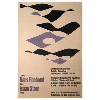 1951 Classical Music Concert Poster Featuring Isaac Stern by J. Muller-Brockmann For Sale