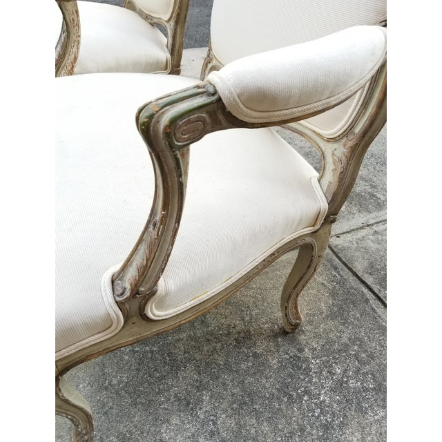 Textile Vintage French Louis XV Style Armchairs - a Pair For Sale - Image 7 of 11