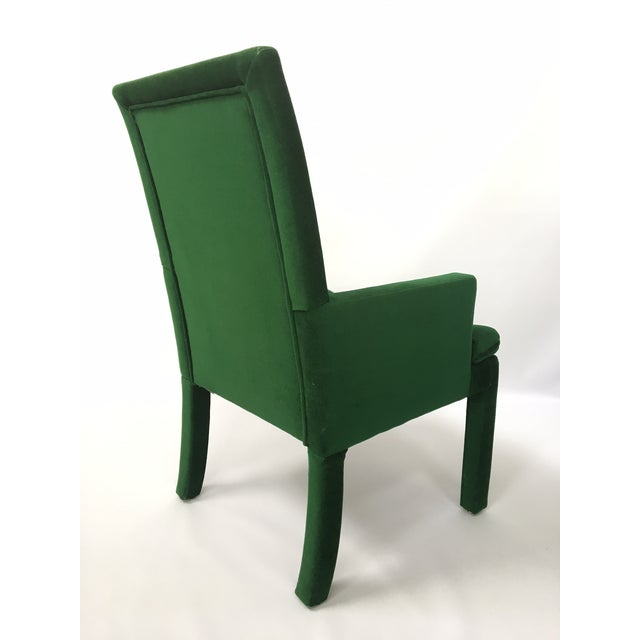 Green Velvet Parsons Dining Chairs After Milo Baughman ...