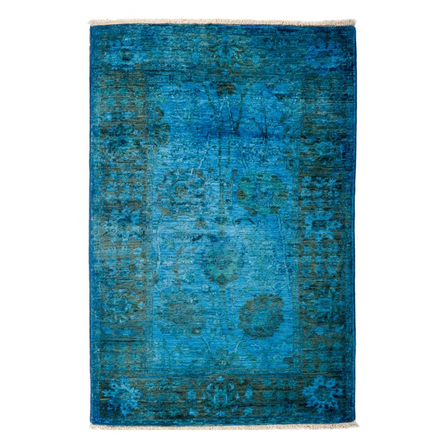 "Overdyed Hand-Knotted Rug - 3'1"" x 4'6"" - Image 1 of 3"