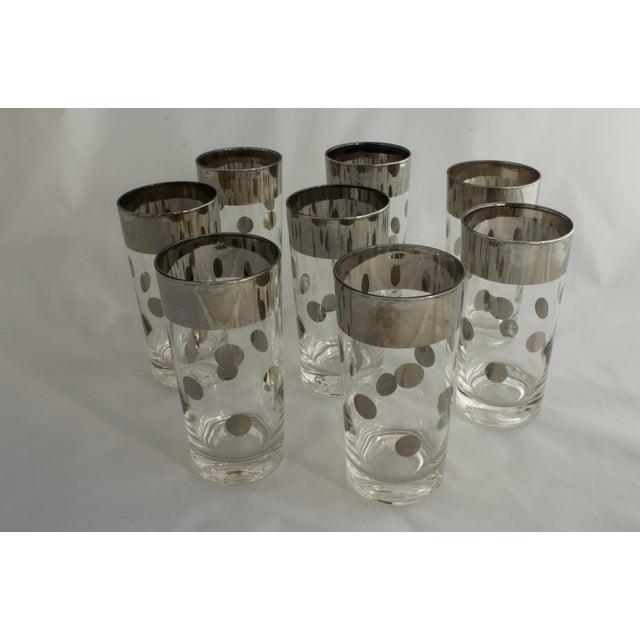 Dorothy Thorpe Silver Rim Polka Dot Glasses - Set of 8 For Sale - Image 5 of 5