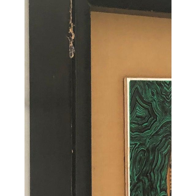 Metal Vintage Fornasetti Italian Framed Malachite Tiles - Set of 4 For Sale - Image 7 of 13