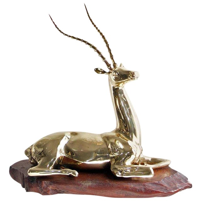 Restored Mid-20th Century Brass Sculpture of Impala on Natural Edge Wood Base For Sale