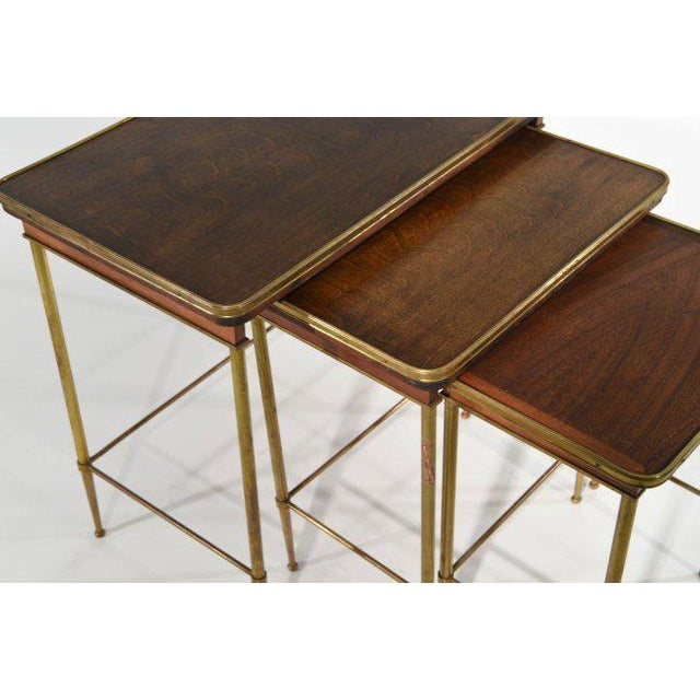 Brass & Wood Nesting Tables - Set of 3 For Sale - Image 4 of 7