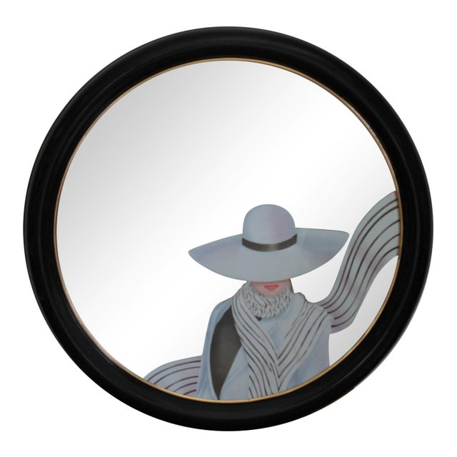 Post modern round wall mirror with female figure. Dated 1994. No makers mark. Some minor age wear to black lacquered frame.