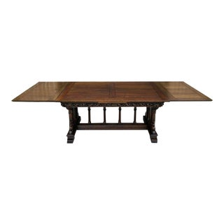 Antique French Draw Leaf Gothic Dining/Conference Table For Sale