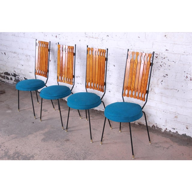 Hollywood Regency Arthur Umanoff for Shaver-Howard Mid-Century Modern High Back Dining Chairs, Set of Four For Sale - Image 3 of 9
