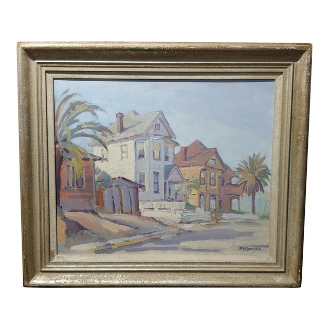 "Fritz Kocher ""Sunset Blvd and Bunkerhill L.A. 1959"" Original Oil Painting For Sale"