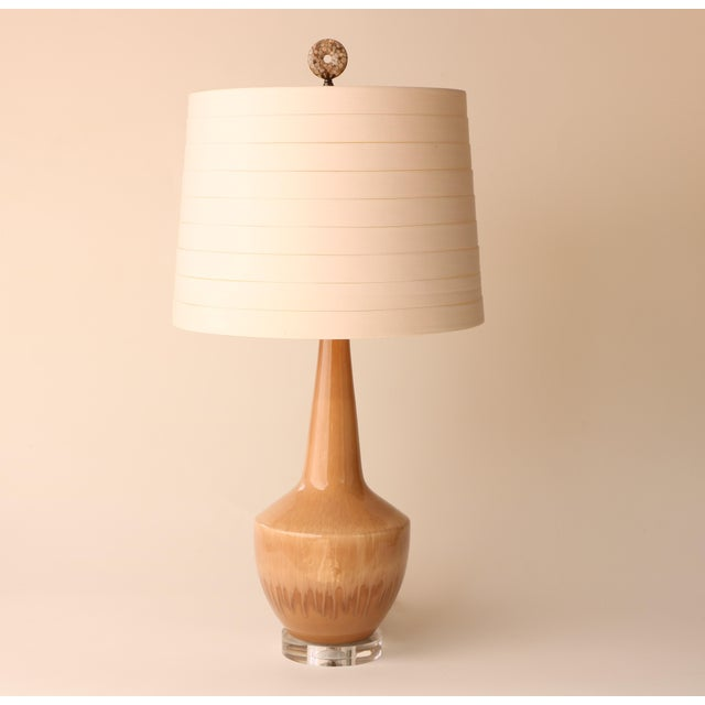 Vintage Haeger ceramic vessel with a neutral blush beige drip glaze transformed into a fully custom lamp. Rewired with a...