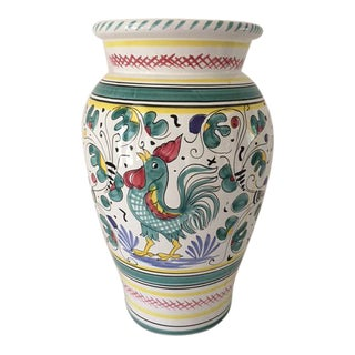 Deruta Rooster Pottery Olive Oil Urn