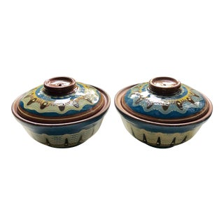 Vintage Handpainted Covered Soup Bowls - S/2 For Sale