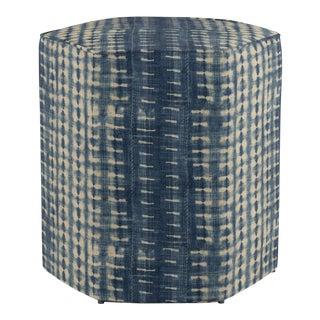 Hexagonal Ottoman in Shibori For Sale