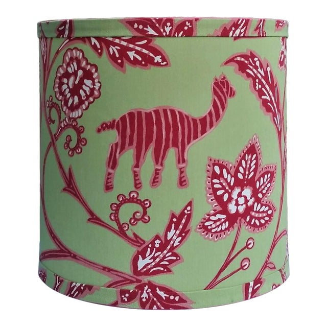 Thibaut Fabric Lampshade Green Hot Pink Tropical For Sale