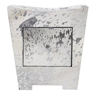 Pasargad Home Forest Collection Silver Cowhide Storage Side Table For Sale